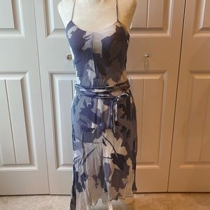 POLECI navy blue white silk asymmetrical dress 0